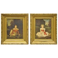 Vintage Gold Framed Hans Volkmann Art Print Little Princess Girl Lord Seaham Boy