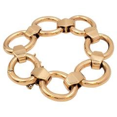 Vintage Gold Geometric Open-Link Bracelet