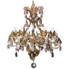 Vintage Gold Gilt Baguès Rock Crystal Nine Light Fixture Filigree Chandelier