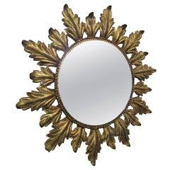 Vintage Gold Gilt Metal Sunburst Mirror
