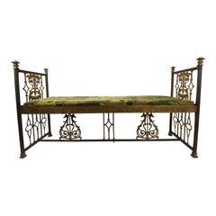 Vintage Gold Gilt Ornate Iron Renaissance Style Bench