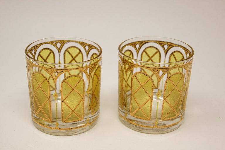 Mid-Century Modern Vintage Gold Glasses by Fred Press Set of Two