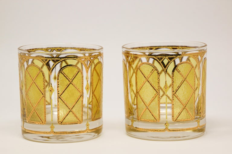 American Vintage Gold Glasses by Fred Press Set of Two