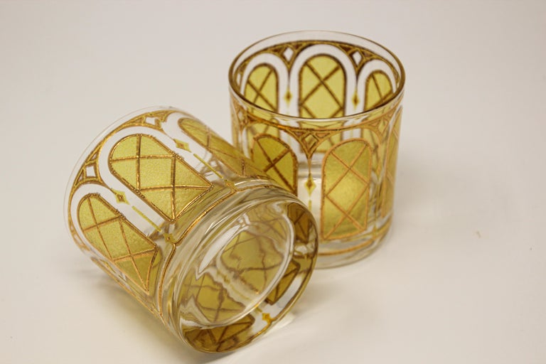 Vintage Gold Glasses by Fred Press Set of Two 3