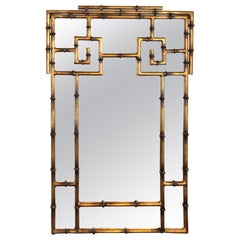 Vintage Gold Greek Key Chinese Chippendale Faux Bamboo Mirror