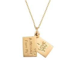 "Vintage Gold ""I Love You"" Envelope Charm"