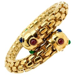 Vintage Gold Jewelled Torque Style Cuff Sapphire Emerald & Ruby Glass