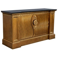 Vintage Gold Leaf Marble Top Console Buffet