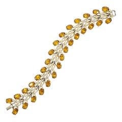 Vintage Gold Link Bracelet, Amber & Clear Crystals