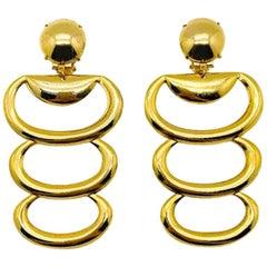 Vintage Gold Loop Statement Layer Earrings 1980S