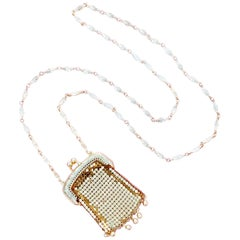 Vintage Gold Mesh Pouch Necklace by Whiting & Davis, 1960s