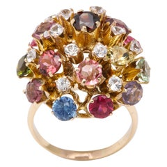 Vintage Gold Multi Gemstone Sputnik Ring