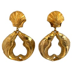 Vintage Gold Nautical Fish Seashell Statement Earrings