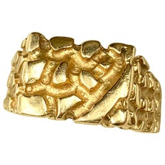 Vintage Gold Nugget Brutalist Style 14 Karat Yellow Gold Ring, 1960's-70's