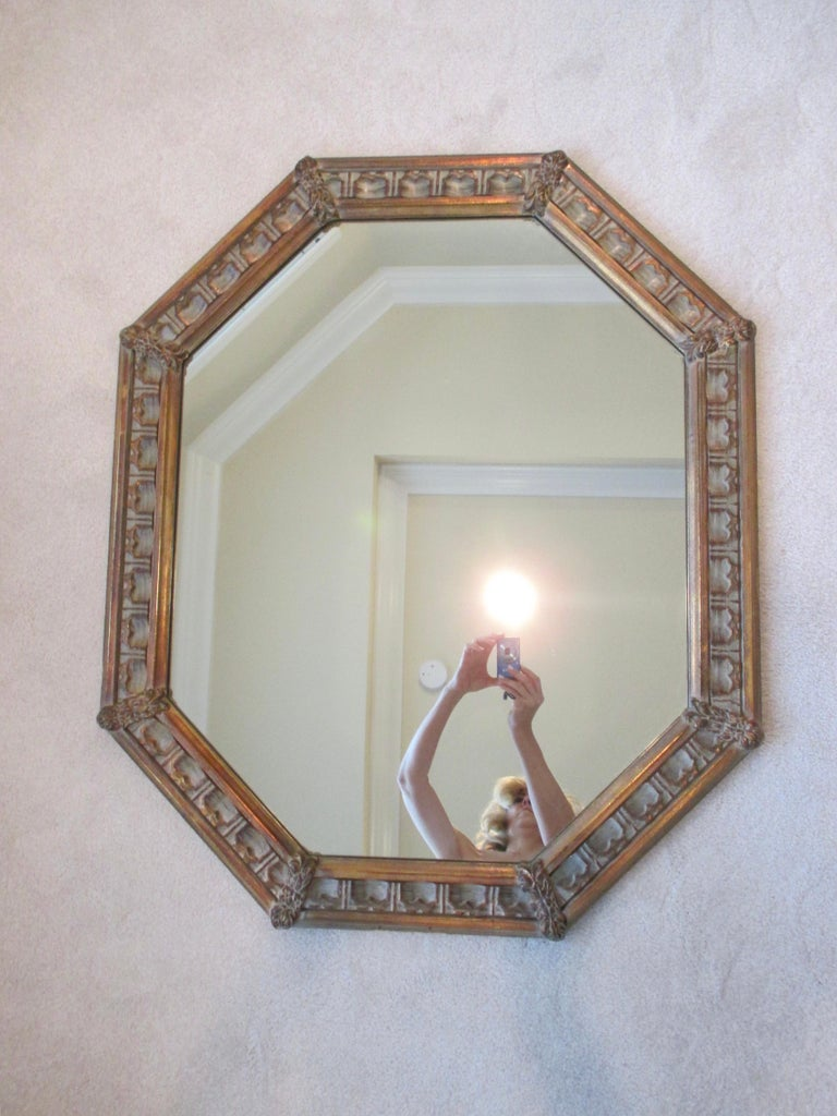 20th Century Vintage Gold Octagonal Mirror For Sale