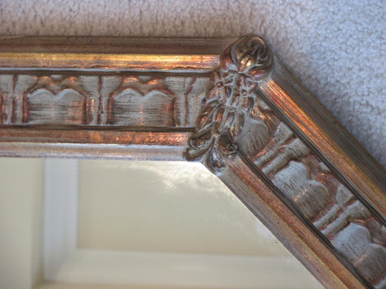 Glass Vintage Gold Octagonal Mirror For Sale