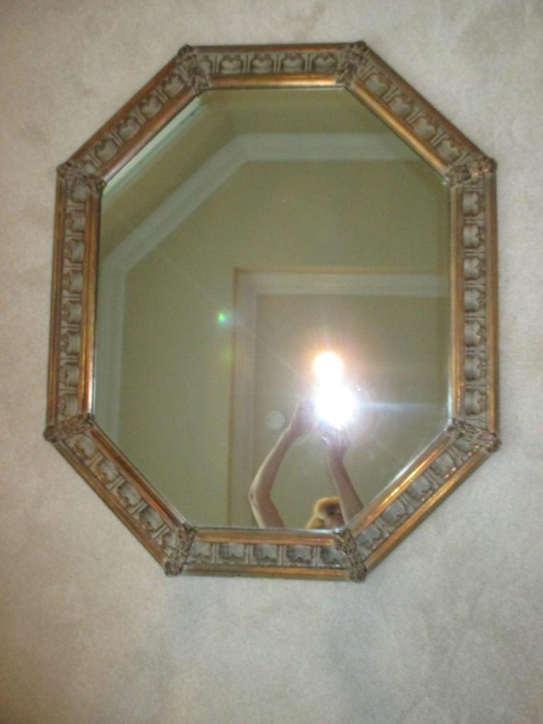 Vintage Gold Octagonal Mirror For Sale 1