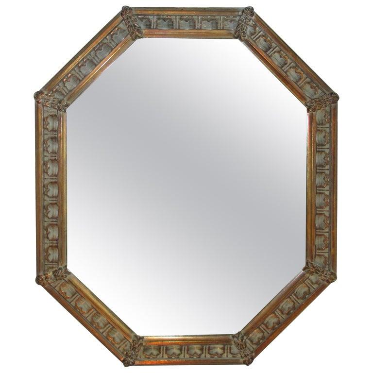 Vintage Gold Octagonal Mirror For Sale
