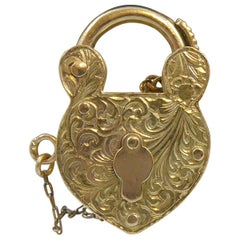 Vintage Gold Padlock Pendant Charm, Fully Lockable Complete with Key 1970s Era