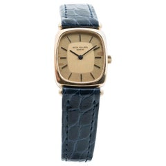 Vintage Gold Patek Philippe Ladies Watch, Alligator Strap