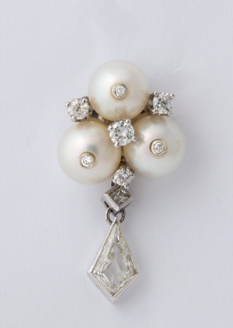 Modern Vintage Gold Pearl and Kite Cut Diamond Earrings For Sale