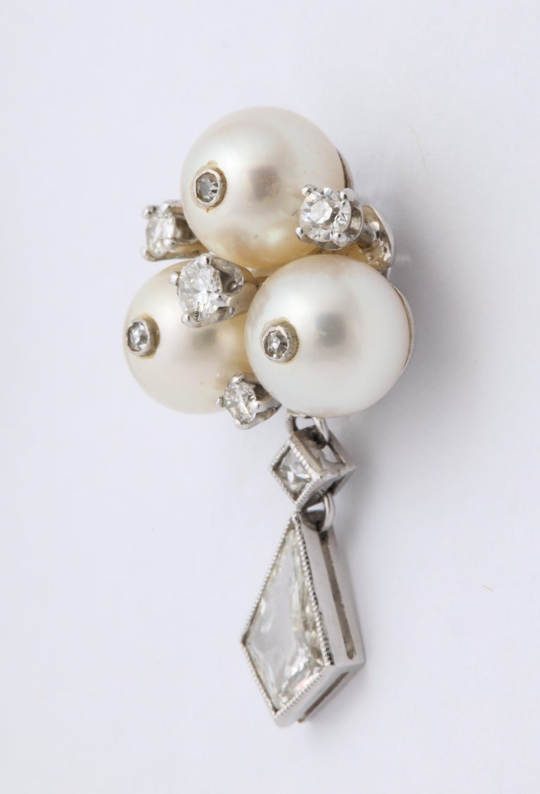 Vintage Gold Pearl and Kite Cut Diamond Earrings In Excellent Condition For Sale In Stamford, CT
