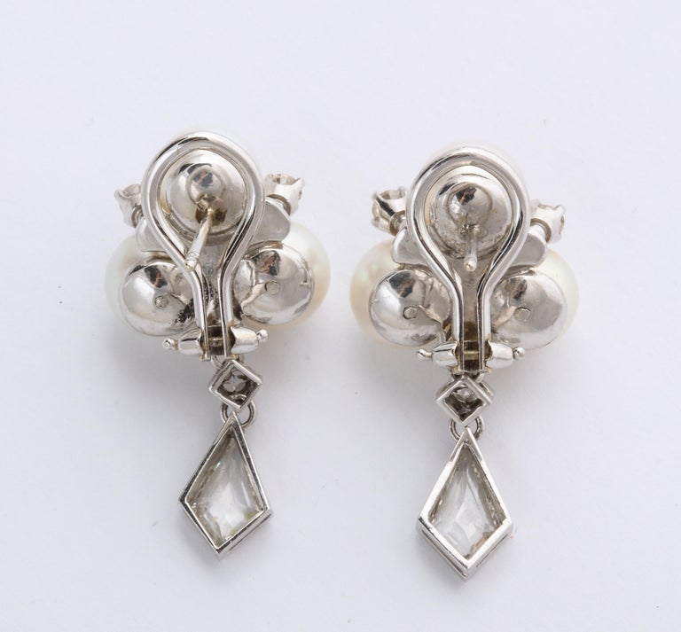 Women's or Men's Vintage Gold Pearl and Kite Cut Diamond Earrings For Sale