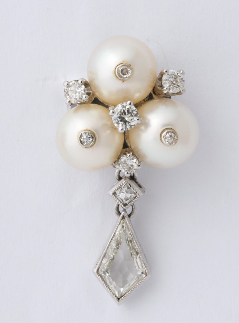 Vintage Gold Pearl and Kite Cut Diamond Earrings For Sale 1