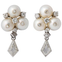 Vintage Gold Pearl and Kite Cut Diamond Earrings