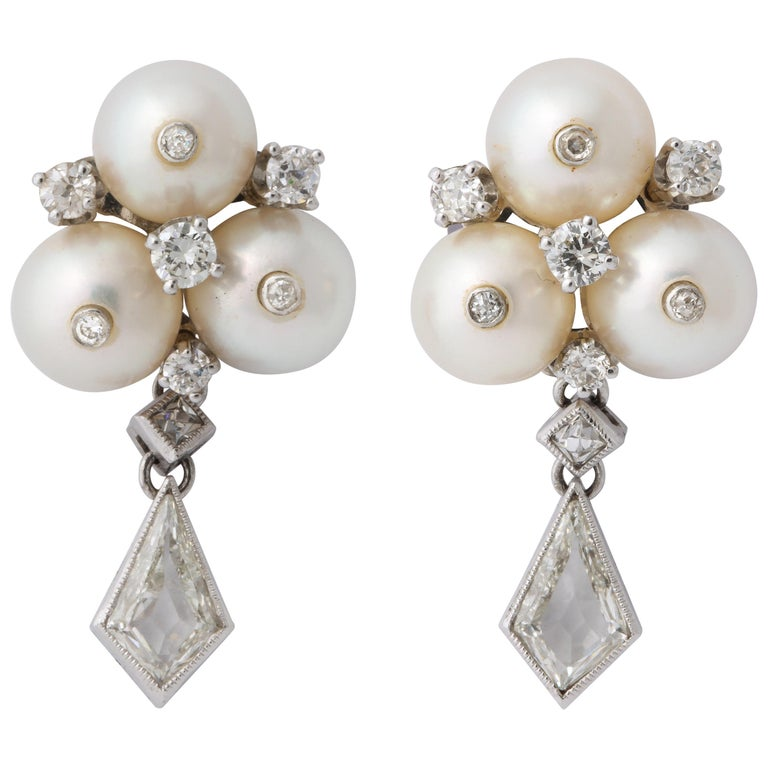 Vintage Gold Pearl and Kite Cut Diamond Earrings For Sale