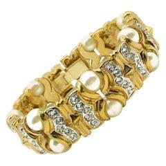 Vintage Gold Pearl & Crystal Bracelet 1990s