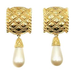 Vintage Gold & Pearl Drop Matelasse Earrings 1980s