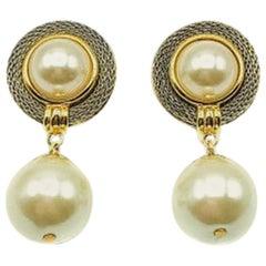 Vintage Gold & Pearl & Grey Mesh Droplet Earrings 1990S
