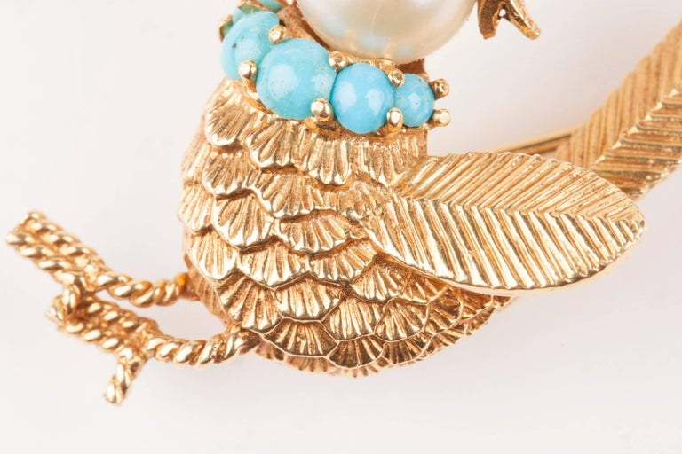 Women's Gold Pearl Rubies and Turquoise French Bird Brooch For Sale