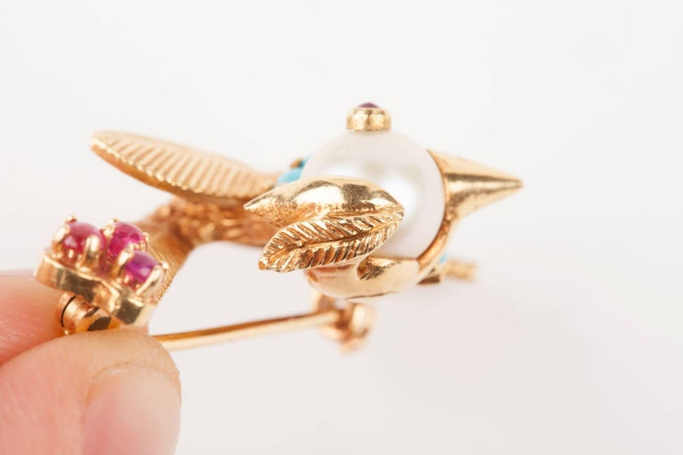 Gold Pearl Rubies and Turquoise French Bird Brooch For Sale 3