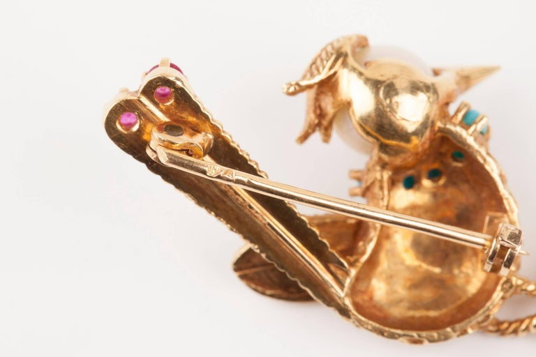 Gold Pearl Rubies and Turquoise French Bird Brooch For Sale 4
