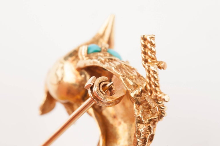 Gold Pearl Rubies and Turquoise French Bird Brooch For Sale 5