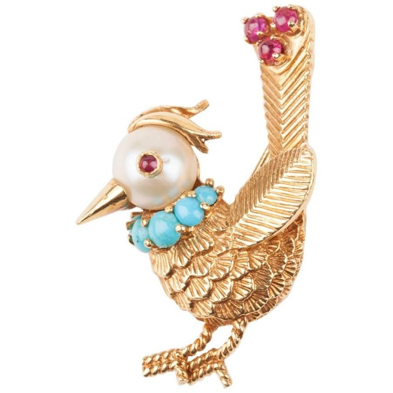Gold Pearl Rubies and Turquoise French Bird Brooch For Sale