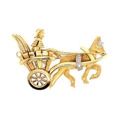 Vintage Gold Pin 0.05 Carat Natural Diamond Roman Chariot Gem Stone, circa 1980