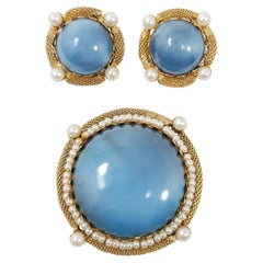 Vintage Gold Pin Brooch and Clip on Earrings Set, Faux Larimar Cabochons