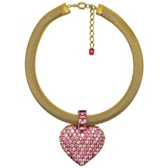 Vintage Gold & Pink Crystal Statement Heart Collar 1970s