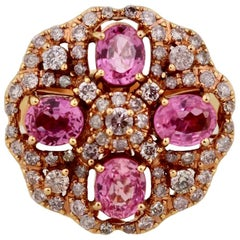 Vintage Gold, Pink Sapphire and Diamond Ring
