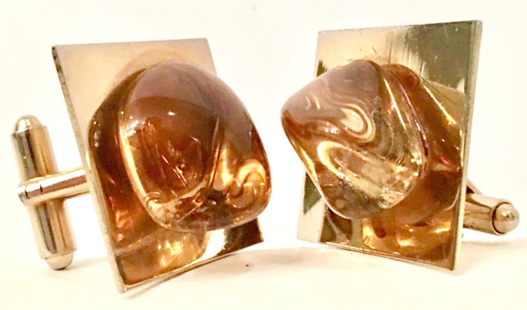 Fantastic Pair Of Large Gold Plate & Amber Glass