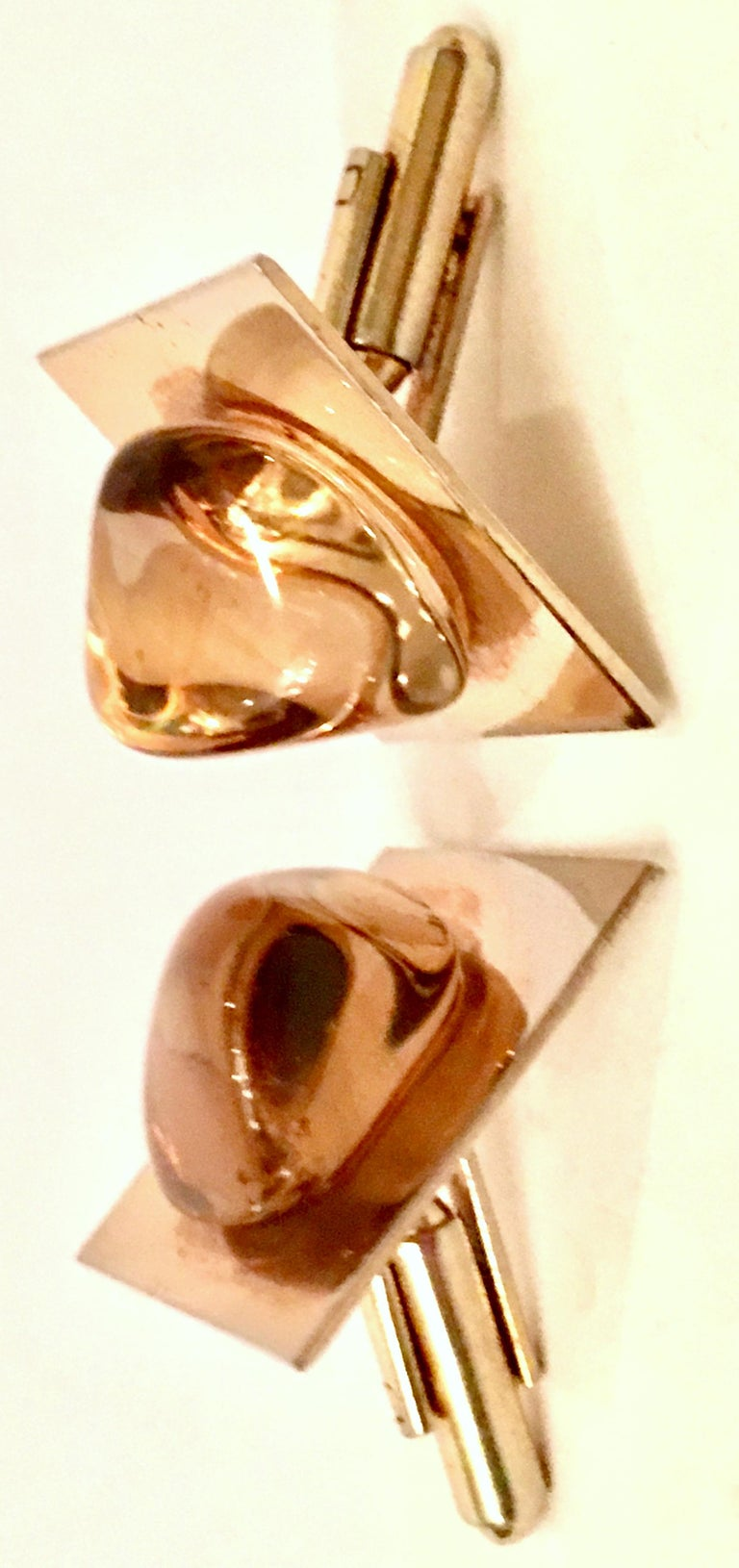 Vintage Gold Plate & Amber Glass Cufflinks In Good Condition For Sale In West Palm Beach, FL