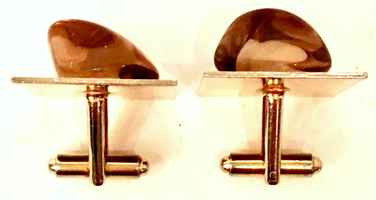 Women's or Men's Vintage Gold Plate & Amber Glass Cufflinks For Sale