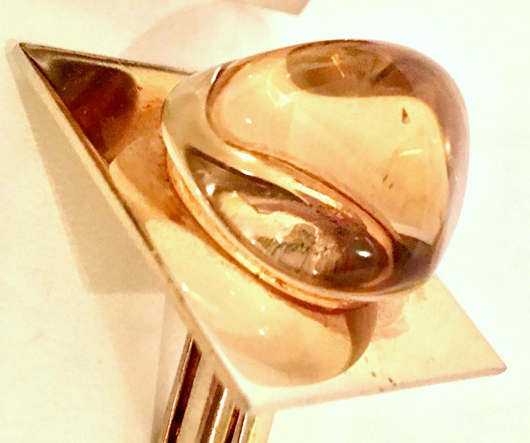 Vintage Gold Plate & Amber Glass Cufflinks For Sale 2
