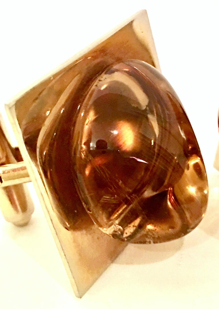 Vintage Gold Plate & Amber Glass Cufflinks For Sale 3