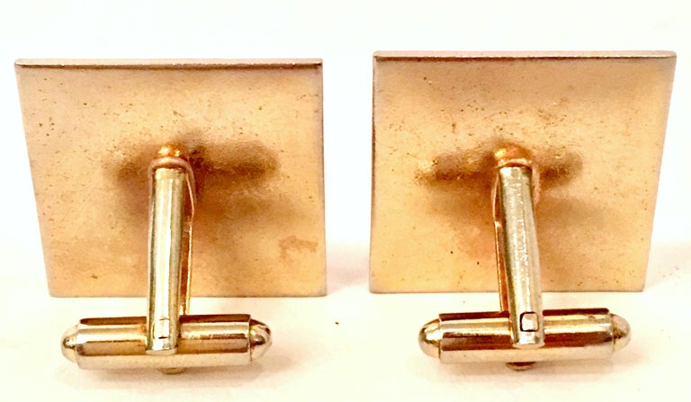Vintage Gold Plate & Amber Glass Cufflinks For Sale 5