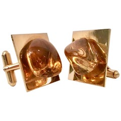 Vintage Gold Plate & Amber Glass Cufflinks