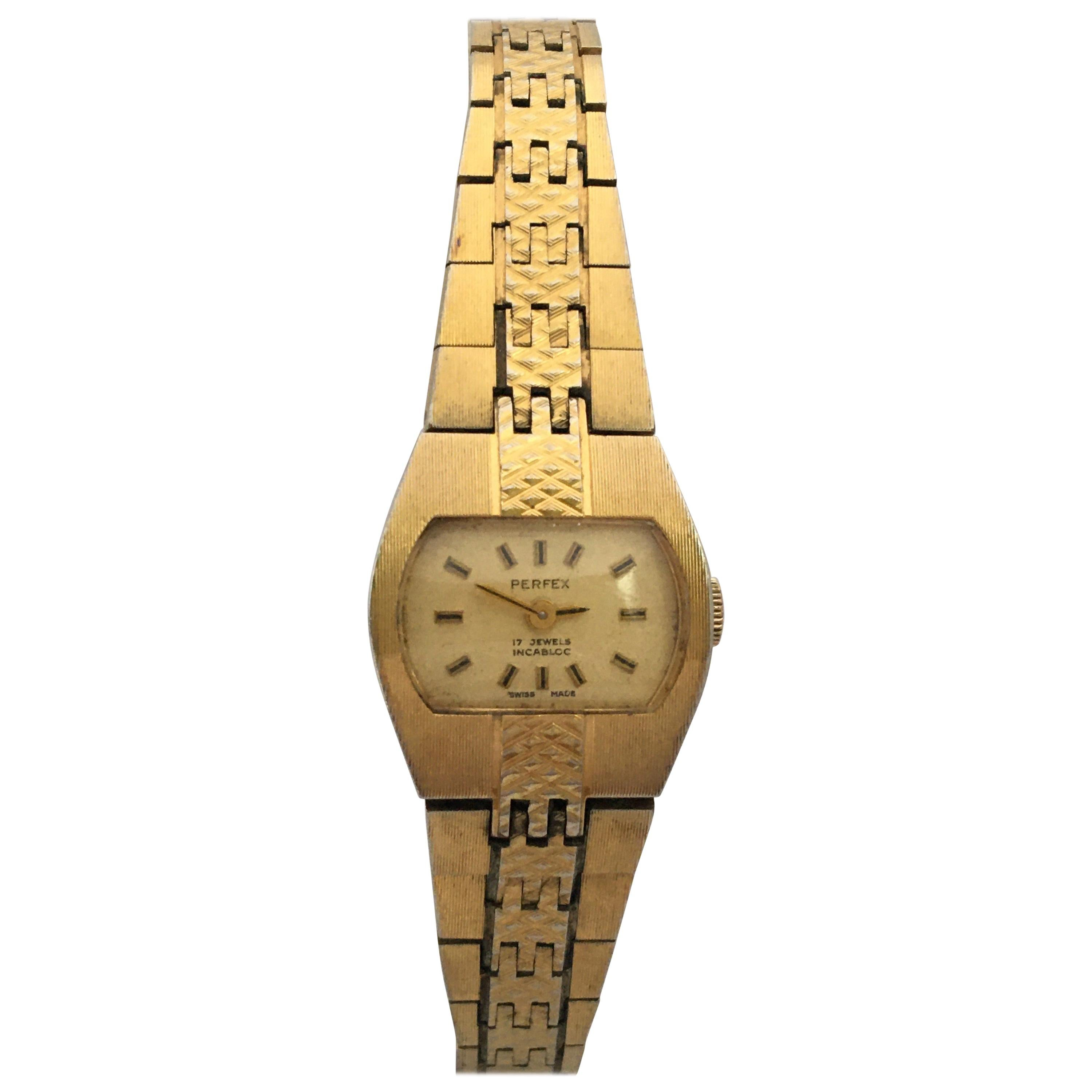 Vintage Gold-Plated 1980s Ladies Swiss Mechanical Watch